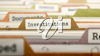 Investigations Concept on File Label in Multicolor Card Index. Closeup View. Selective Focus.