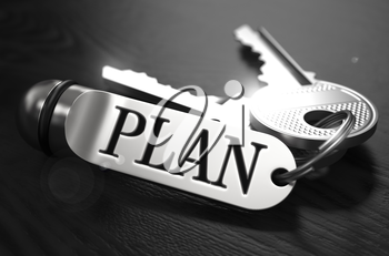 Plan Concept. Keys with Keyring on Black Wooden Table. Closeup View, Selective Focus, 3D Render. Black and White Image.