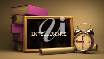 Intelligence Concept Hand Drawn on Chalkboard. Blurred Background. Toned Image.