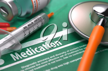 Medication. Medical Concept with Blurred Text, Stethoscope, Pills and Syringe on Green Background. Selective Focus.