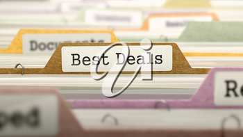 Folder in Colored Catalog Marked as Best Deals Closeup View. Selective Focus.