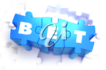 Bet - White Word on Blue Puzzles on White Background. 3D Illustration.