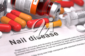 Nail disease. Medical Report with Composition of Medicaments - Red Pills, Injections and Syringe. Selective Focus.