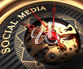 Social Media on Black-Golden Watch Face with Closeup View of Watch Mechanism.
