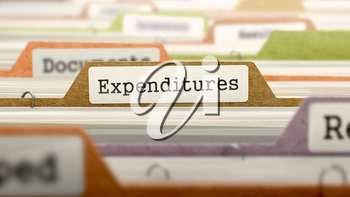 File Folder Labeled as Expenditures in Multicolor Archive. Closeup View. Blurred Image.
