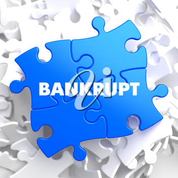 Bankrupt on Blue Puzzle on White Background.