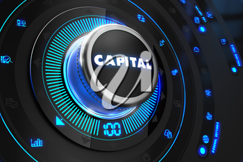 Capital Controller on Black Control Console with Blue Backlight. Improvement, regulation, control or management concept.