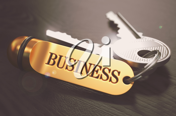Business Concept. Keys with Golden Keyring on Black Wooden Table. Closeup View, Selective Focus, 3D Render. Toned Image.