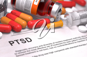 PTSD - Printed Diagnosis with Blurred Text. On Background of Medicaments Composition - Red Pills, Injections and Syringe.