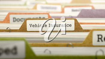 Vehicle Insurance Concept. Colored Document Folders Sorted for Catalog. Closeup View. Selective Focus.