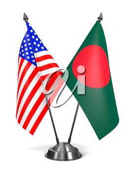 USA and Bangladesh - Miniature Flags Isolated on White Background.