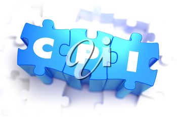CPI  - White Word on Blue Puzzles on White Background. 3D Render.