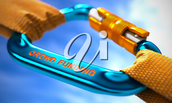 Blue Carabiner between Orange Ropes on Sky Background, Symbolizing the Crowd Funding. Selective Focus.
