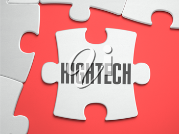 HighTech - Text on Puzzle on the Place of Missing Pieces. Scarlett Background. Close-up. 3d Illustration.
