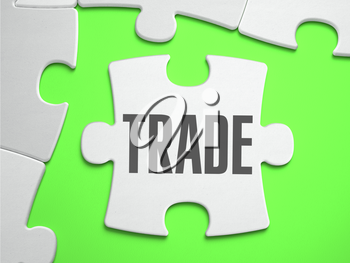 Trade - Jigsaw Puzzle with Missing Pieces. Bright Green Background. Close-up. 3d Illustration.