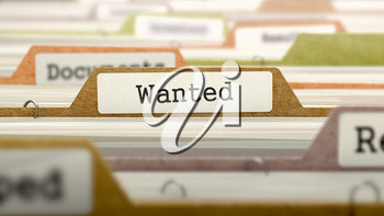 Wanted Concept. Colored Document Folders Sorted for Catalog. Closeup View. Selective Focus.
