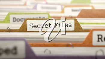 Folder in Colored Catalog Marked as Secret Files Closeup View. Selective Focus.