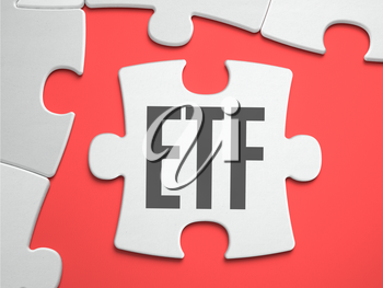 ETF - Exchange Traded Fund - Text on Puzzle on the Place of Missing Pieces. Scarlett Background. Close-up. 3d Illustration.
