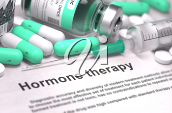 Hormone Therapy. Medical Report with Composition of Medicaments - Light Green Pills, Injections and Syringe. Blurred Background with Selective Focus.
