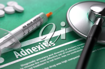 Adnexitis - Medical Concept with Blurred Text, Stethoscope, Pills and Syringe on Green Background. Selective Focus.
