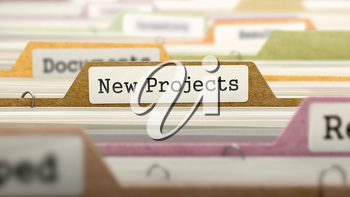 New Projects Concept. Colored Document Folders Sorted for Catalog. Closeup View. Selective Focus.