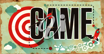 Game Concept on Old Poster in Flat Design with Red Target, Rocket and Arrow. Business Concept.