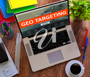 Geo Targeting on Laptop Screen. Office Working Concept.