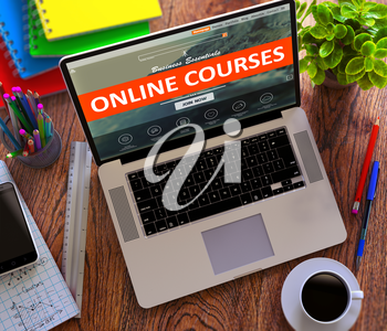 Online Courses on Laptop Screen. Distance Learning Concept.