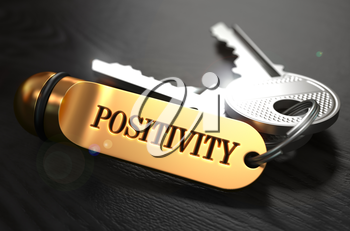 Positivity  Concept. Keys with Golden Keyring on Black Wooden Table. Closeup View, Selective Focus, 3D Render.