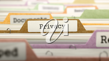 File Folder Labeled as Privacy in Multicolor Archive. Closeup View. Blurred Image.