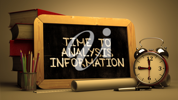 Hand Drawn Time to Analysis Information Concept  on Chalkboard. Blurred Background. Toned Image.