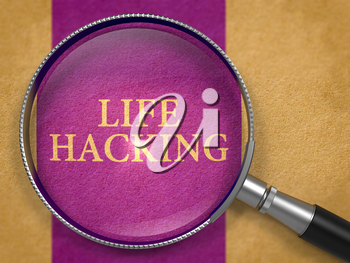 Life Hacking through Lens on Old Paper with Dark Lilac Vertical Line Background.