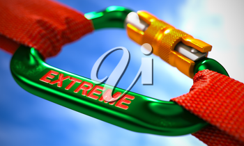 Green Carabiner between Red Ropes on Sky Background, Symbolizing the Extreme. Selective Focus. 3d Illustration.