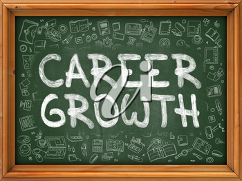 Career Growth Concept. Line Style Illustration. Career Growth Handwritten on Green Chalkboard with Doodle Icons Around. Doodle Design Style of  Career Growth.
