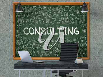 Green Chalkboard on the Gray Concrete Wall in the Interior of a Modern Office with Hand Drawn Consulting.  Business Concept with Doodle Style Elements. 3D.