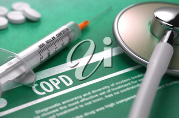 COPD - Medical Concept with Blurred Text, Stethoscope, Pills and Syringe on Green Background. Selective Focus. 3d Render.