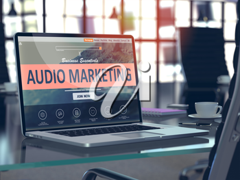 Audio Marketing Concept Closeup on Laptop Screen in Modern Office Workplace. Toned Image with Selective Focus. 3d Render.