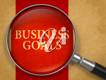 Business Goals through Magnifying Glass on Old Paper with Crimson Vertical Line Background. 3d Render.