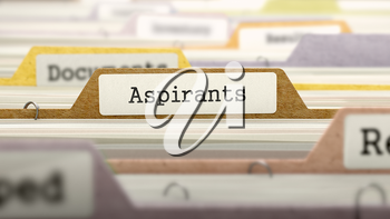 File Folder Labeled as Aspirants in Multicolor Archive. Closeup View. Blurred Image. 3d Render.