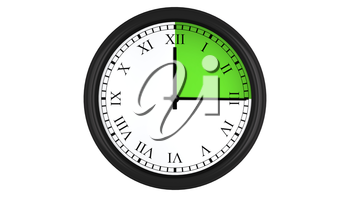 Wall clock with Roman numerals showing a 15 minutes green time interval, isolated on a white background. Realistic 3D computer generated image.