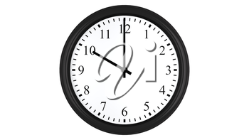 Realistic 3D render of a wall clock set at 10 o'clock, isolated on a white background.