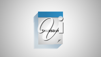 Blue weekly calendar on a white wall, showing Thursday. Digital illustration.