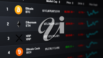 Computer screen showing a list of prices and market caps of several cryptocurrencies. Camera pointed to the right. Dark gray background version.