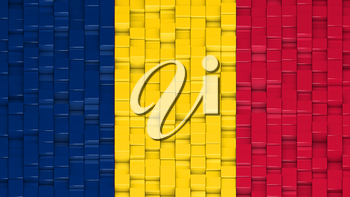 Chadian flag made of cubes in a random pattern. 3D computer generated image.