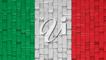 Italian flag made of cubes in a random pattern. 3D computer generated image.