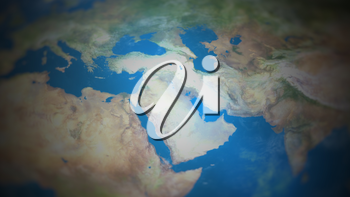 West Asia on a world map with vignette and radial blur effect. Elements of this image are furnished by NASA.