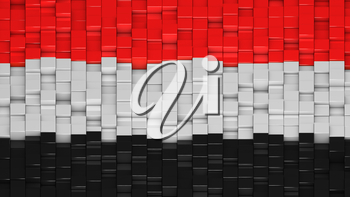 Yemeni flag made of cubes in a random pattern. 3D computer generated image.