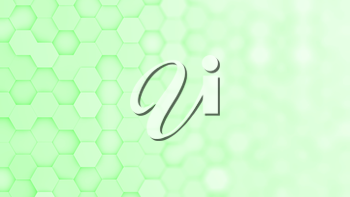 Light green hexagonal grid in a random pattern. 3D computer generated image with gradual blur effect for copyspace.