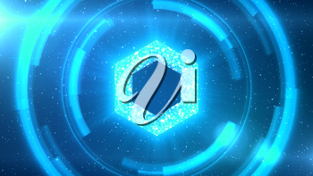 Blue Chainlink symbol centered on a starscape background with HUD elements.