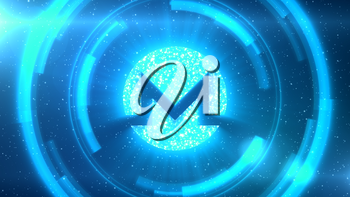 Blue Monero symbol centered on a starscape background with HUD elements.